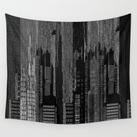 metropolis Wall Tapestries featuring Metropolis/ B&W by MariskaART