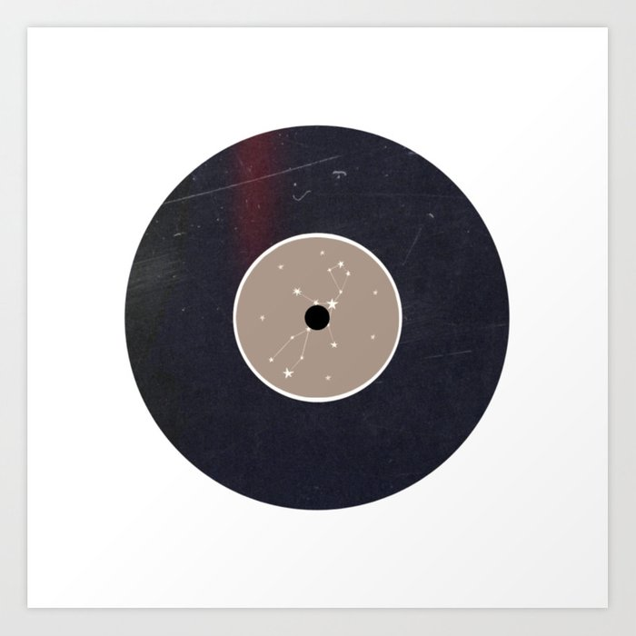 Vinyl Record Star Sign Art | Virgo Art Print