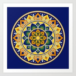 Italian Tile Pattern – Peacock motifs majolica from Deruta Art Print