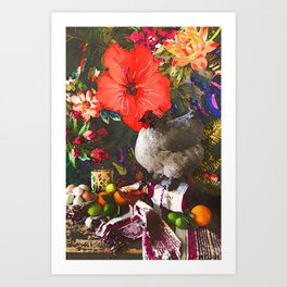 Still Life with Fat Chicken (Watercolor) Art Print
