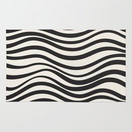 Wavy lines black and white Rug