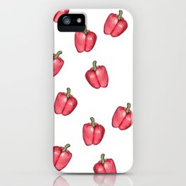 Red Pepper Watercolour Pattern iPhone Case