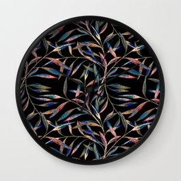 Bright sprigs on a black background. Wall Clock