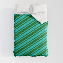 Dark Turquoise and Dark Green Colored Lined Pattern Comforters