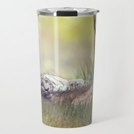 White tiger resting under a big tree Travel Mug