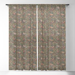 Khokhloma Russian Forest Animals Sheer Curtain
