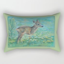 Little Roe on the spring meadow Wildlife Deer Pastel drawing Fawn Rectangular Pillow