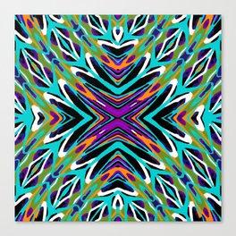 psychedelic geometric graffiti abstract pattern in green blue purple orange Canvas Print