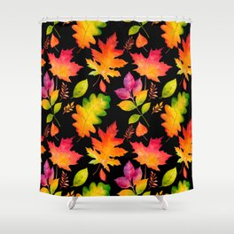 Fall Leaves Watercolor - Black Shower Curtain
