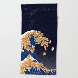 Shiba Inu The Great Wave in Night Beach Towel