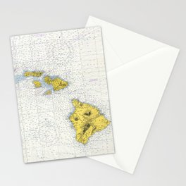 Vintage Map of Hawaii (1974) Stationery Cards