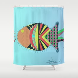 the tamborin fish or puffer fish Shower Curtain