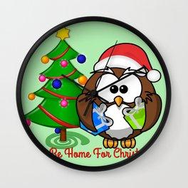 Owl Be Home for Christmas Wall Clock