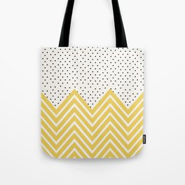 Chartreuse Chevron and dots  Tote Bag