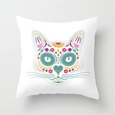 Gato De Los Muertos Throw Pillow