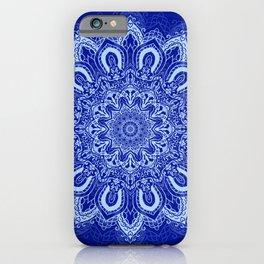 Blue Boho Mandala Flower iPhone Case