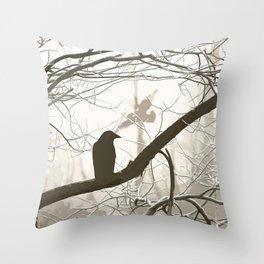Natural crows Throw Pillow