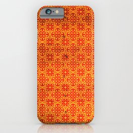 N67 - Yellow & Red Vintage Antique Geometric Traditional Moroccan Style. iPhone Case