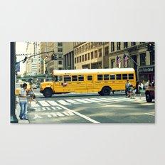 New York school bus Canvas Print