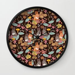 nuts and squirrels Wall Clock