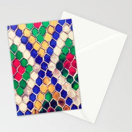 Multicolored Hexagonal Shape Mosaic Artistic Abstract Stationery Cards