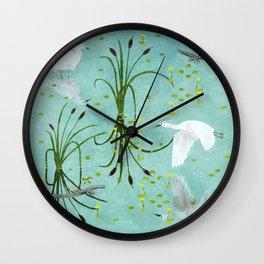 little egrets Wall Clock