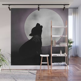 Howling at the moon Wall Mural