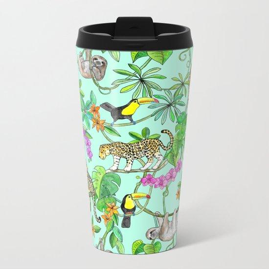 Rainforest Friends - watercolor animals on mint green Metal Travel Mug