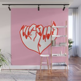 Best Friend Galentine's Day Pinky Promise Solo in Pink Wall Mural