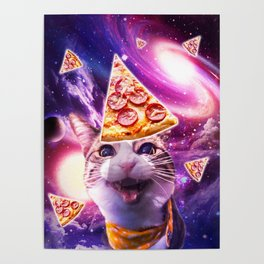Space Galaxy Cat With Pizza Poster