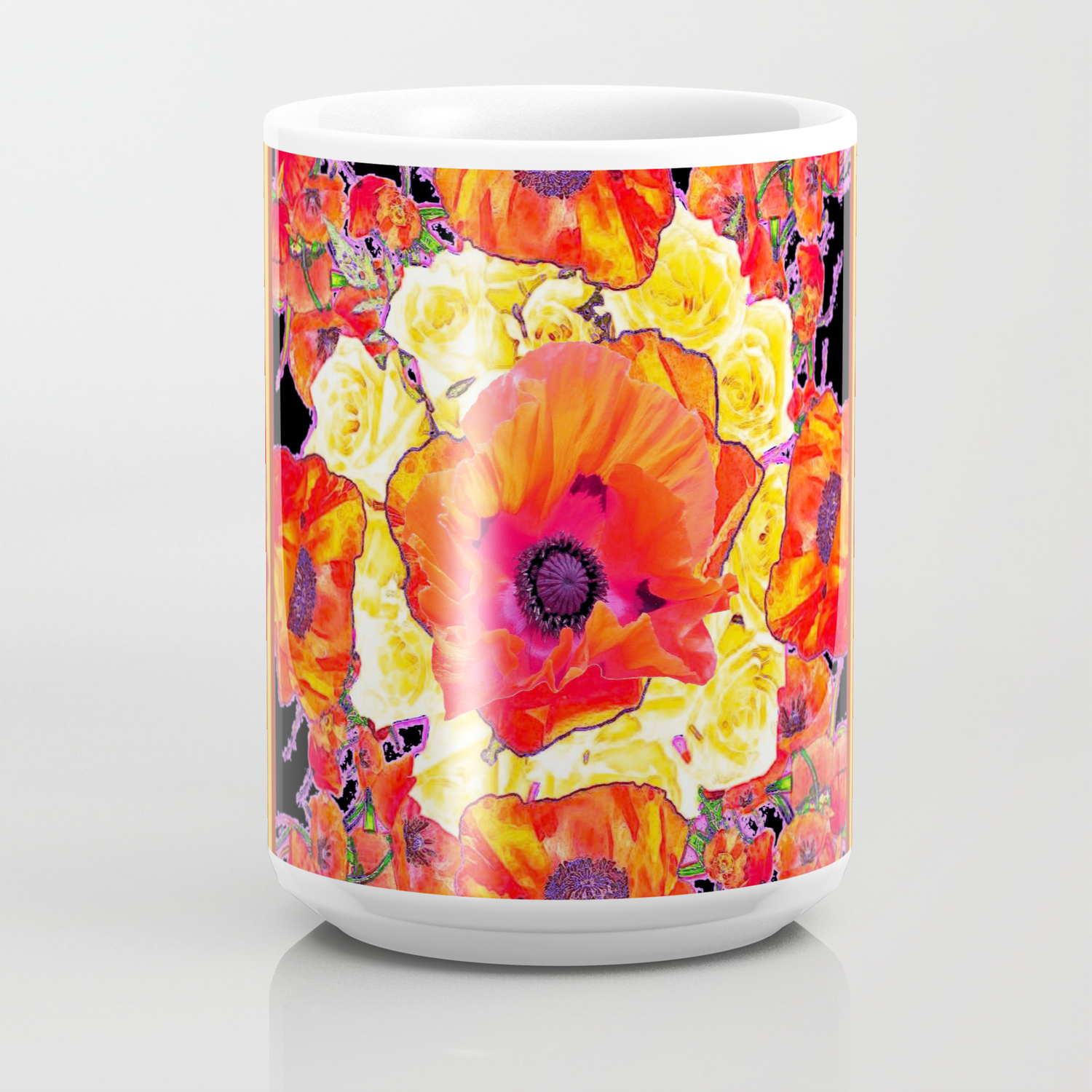 de53413b4e0 RED POPPIES DECORATIVE FLORAL ABSTRACT Coffee Mug