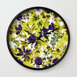 Vibrant floral abstract pattern Wall Clock