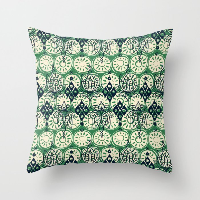 lotus diamond green Throw Pillow