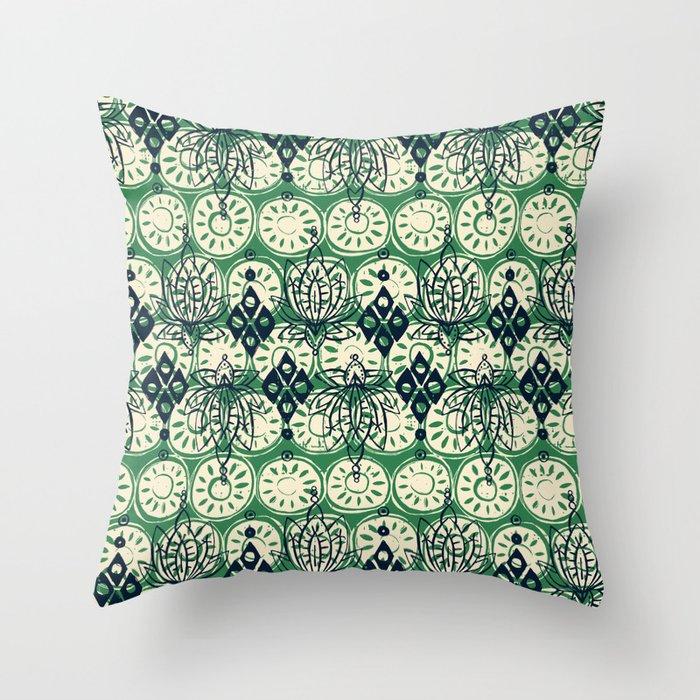 lotus diamond green Throw Pillow