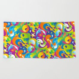 Dolphins, Seals and Sea Life in Tropical Ocean Waves Beach Towel