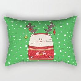 Cat Reindeer Rectangular Pillow