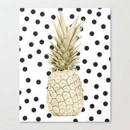 Gold Pineapple on Black and White Polka Dots Canvas Print