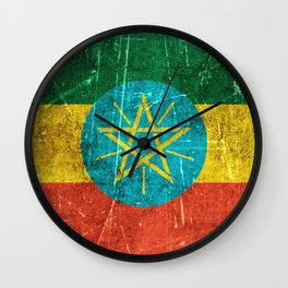 Vintage Aged and Scratched Ethiopian Flag Wall Clock