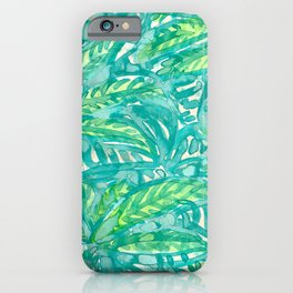 Turquoise & Lime Leaves iPhone Case