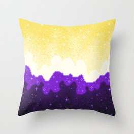 Nonbinary Pride Flag Galaxy Throw Pillow