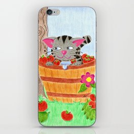 Tabby cat in an apple basket iPhone Skin