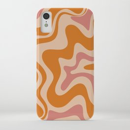 Liquid Swirl Abstract in Late Summer Orange and Pink iPhone Case