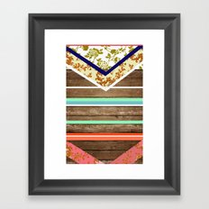 chevron  wood design Framed Art Print