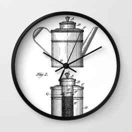 Coffee Patent - Coffee Shop Art - Black And White Wall Clock
