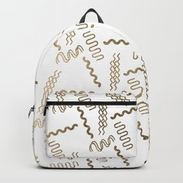 Geometrical white faux gold abstract retro 80's pattern Backpack