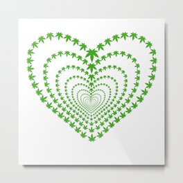 Kaleidoscope cannabis leaf heart Metal Print