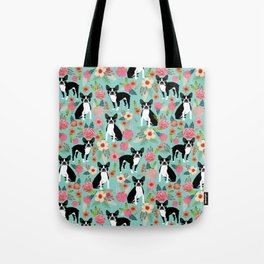 Floral Boston Terrier cute flowers spring bouquet love valentines day black and white mint dogs Tote Bag