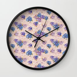 Hydrangeas on Blush with white French script and birds Wall Clock