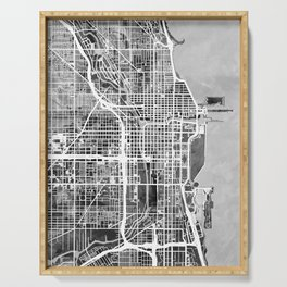 Chicago City Street Map Serving Tray