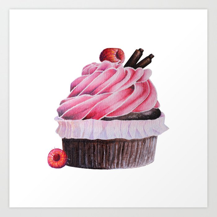Chocolate Raspberry Cupcake Art Print